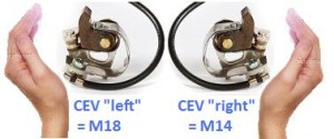 """CEV Points can be either """"Left"""" or """"Right"""". CEV Left hand M18 is for clockwise rotation CEV Right hand M14 is for counter clockwise"""