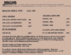 1995 Jawa Price List