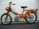 1979 Motobecane Moby Variator (2-speed) trans. 12V lites, 2.25×17 tires solo seat, US model candy red, blu-sil, copper