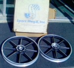 Die cast aluminum wheels for Indian mopeds made by Sport Mag II, Inc. Placentia, California