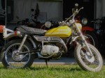"This 1973 Yamaha GT1 80cc has 15"" rims, with ""2.50 - 15"" trail tires."