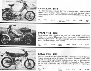 1980 Casal Mopeds (US models)