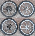 "Puch crossed-ray ""X-mag"" 17"" magnesium wheels aka ""snowflake mags"" made by Grimeca"