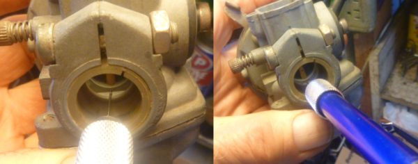 Cleaning a Dellorto idle hole with a tiny #71 drill and a pin vise