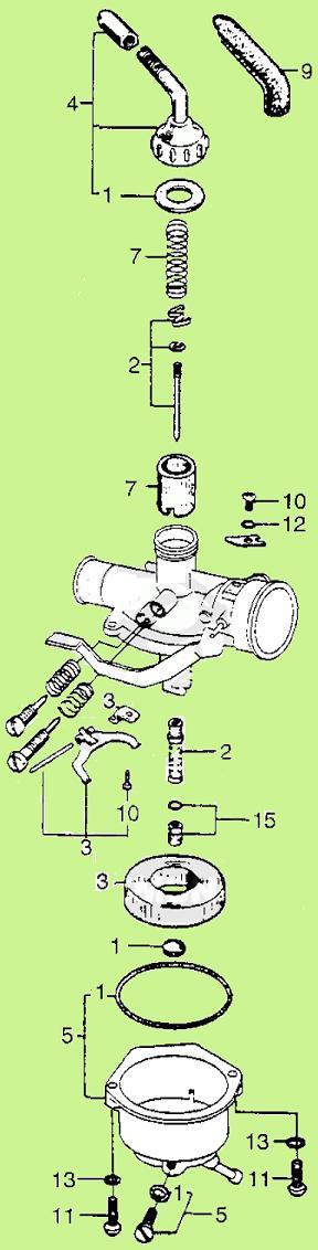 1969 Honda PC50 carburetor illustration