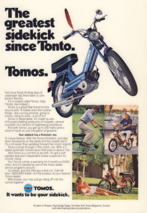 1978 Tomos Ad The greatest sidekick since Tonto