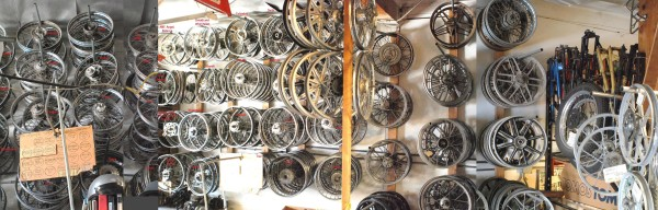 Myrons Mopeds Wall of Wheels in 2011