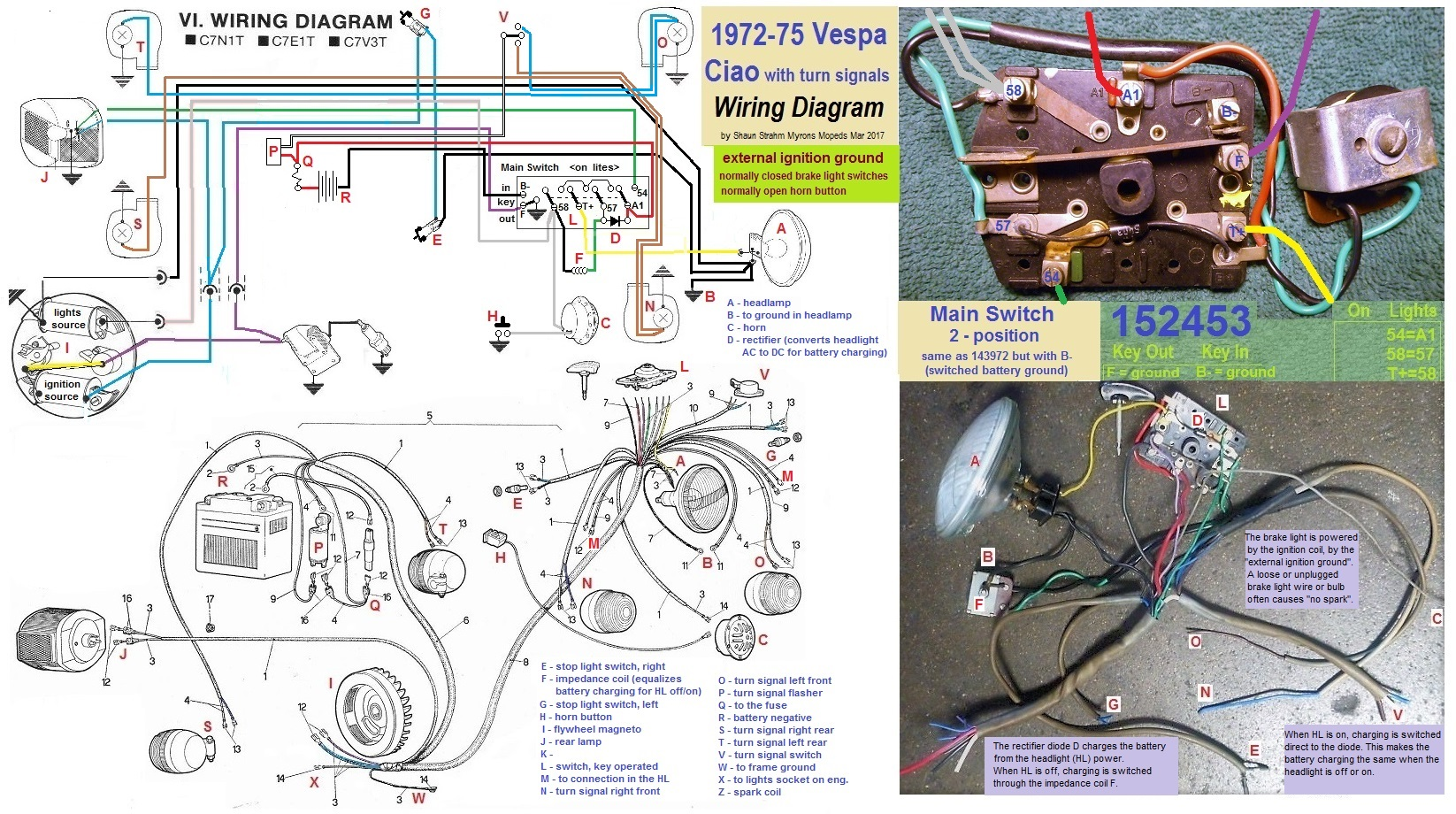 Diagram Vespa Electrical U00ab Myrons Mopeds